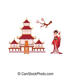 Geisha with fan, sakura branch, pagoda vector set