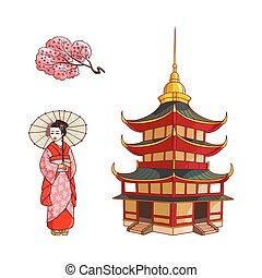 Geisha with fan, sakura branch, pagoda vector set