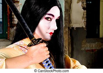 Geisha with sword