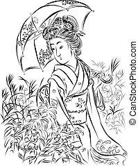 Geisha with Umbrella,vector illustration