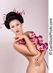Geisha woman with flowers
