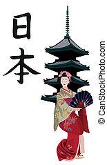 geisha, y, japonés, pagoda