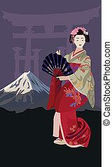 geisha, y, monte fujiyama