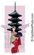 geisha, y, pagoda