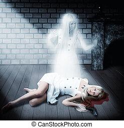 geist, concept., halloween, weißes, durchsichtig