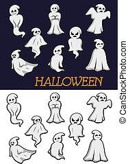 geister, halloween, karikatur