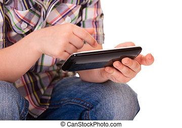 geitje, handen, gebruik, beweeglijk, smart, telefoon