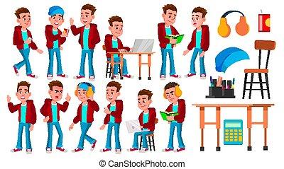 geitje, jongen, school, set, spandoek, huiswerk, teacher., afgestudeerd, maniertjes, vrijstaand, illustratie, hoge vlieger, student., vector., web, design., spotprent, child., schooljongen