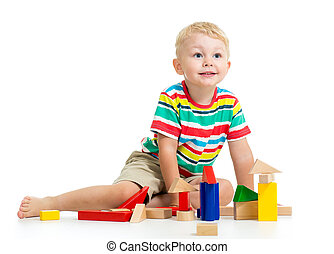 geitje, jongen, spelend, houten speelgoed