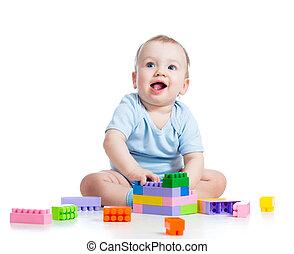 geitje, jongen, spelend, met, gebouw stel, op, witte...
