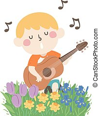 geitje, lente, lied, illustratie, jongen