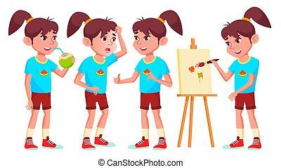 geitje, maniertjes, set, school, kaart, secundair, vrijstaand, illustratie, groet, hoog, gehoorzaal, education., advertentie, vector., schoolgirl, meisje, onderwijs, lecture., spotprent, child., design.