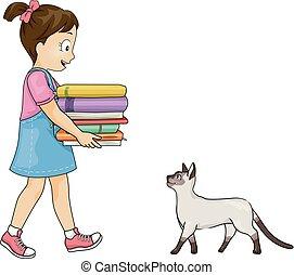 geitje, meisje, boekjes , illustratie, kat