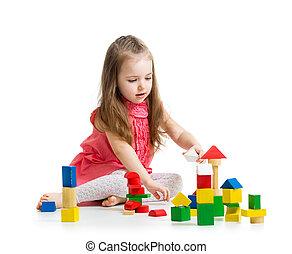 geitje, meisje, spelend, met, blok, speelgoed