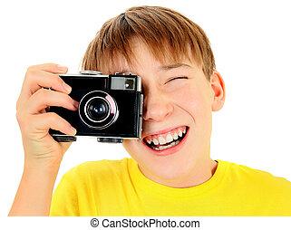 geitje, met, ouderwetse , fotocamera