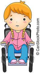 geitje, op, een, wheelchair
