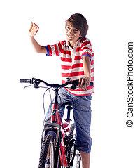 geitje, op, fiets, op wit, achtergrond