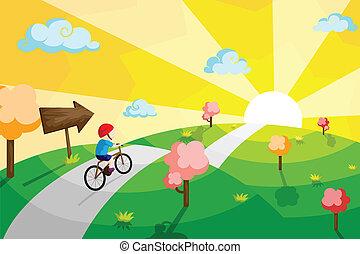 geitje, rijdende fiets