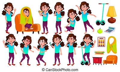 geitje, school, set, positive., postkaart, kaukasisch, vrijstaand, illustratie, hoog, dekking, vector., schoolgirl, plakkaat, meisje, maniertjes, geitjes, spotprent, child., design.