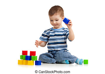 geitje, spelend, speelgoed belemmert