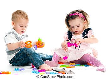 geitje, spelend, speelgoed
