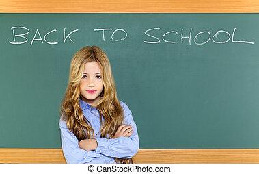 geitje, student, meisje, op, groene, school, bord