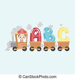geitje, trein, met, alfabet