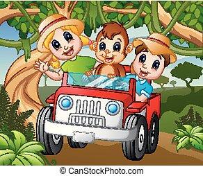 geitjes, aap, geleider, auto, bos, vrolijke