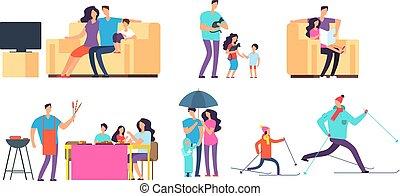 geitjes, activities., gezin, uitgeven, outdoor., vader, alledaags, vector, samen, karakters, tijd, moeder, thuis, spotprent