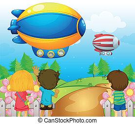 geitjes, airships, schouwend