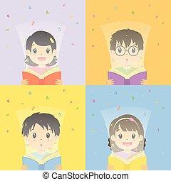 geitjes, alfabet, het boek van de lezing, set, vector
