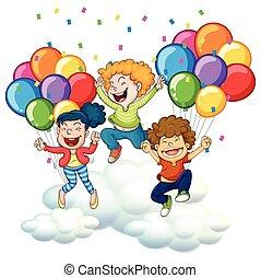 geitjes, ballons, drie, kleurrijke, vrolijke