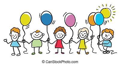 geitjes, ballons, samen, vrolijke