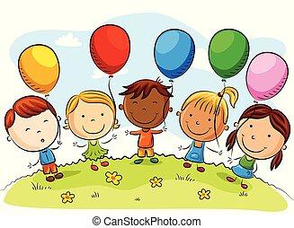 geitjes, ballons, spotprent, kleurrijke, vrolijke