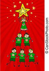 geitjes, boompje, kerstmis