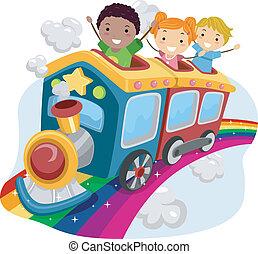 geitjes, bovenop, een, regenboog, trein