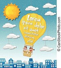 geitjes, city., op, lucht, warme, spotprent, binnen, balloon