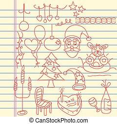 geitjes, doodle, kunst, voor, kerstmis