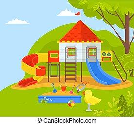 geitjes, dromenland, park, speelplaats, kinderen