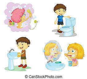 geitjes, en, badkamerartikelen