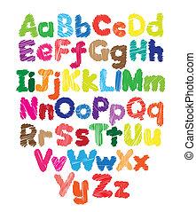 geitjes, gekleurde, doodle, hand, alfabet, tekening