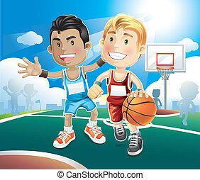 geitjes, gespeel basketbal, op, outdoor.