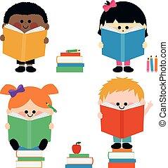 geitjes, groep, books., illustratie, vector, lezende
