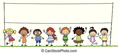 geitjes, groep, multiethnic, illustratie, vasthouden, leeg, spandoek