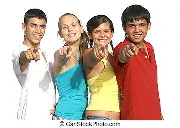 geitjes, groep, wijzende, anders, tieners, of