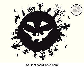 geitjes, halloween, ongeveer, achtergrond, spelend