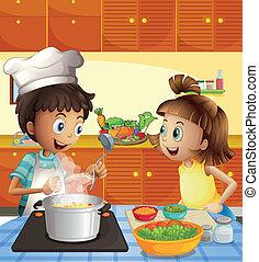 geitjes, het koken, op, de, keuken