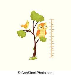 geitjes, hoogte grafiek, en, vogels, zittende , op, takken, van, boom., schub, van, growth., decoratief, muur, sticker, voor, kinderen, room., plat, vector, ontwerp
