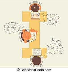 geitjes, illustratie, alfabet, verbeelding, school
