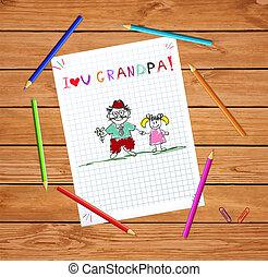 geitjes, illustratie, met, opa, en, granddughter, samen.